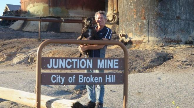 Bob the Dog goes exploring at Junction Mine, Broken Hill, NSW.