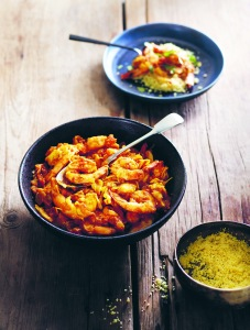 prawn tagine and buttered couscous
