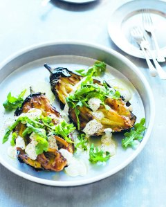 Grilled eggplant, yoghurt & rocket