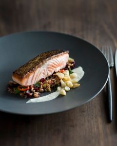 Pan-seared Salmon with Roasted Beetroot & Freekah Salad