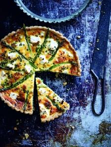 Zucchini feta and asparagus tart