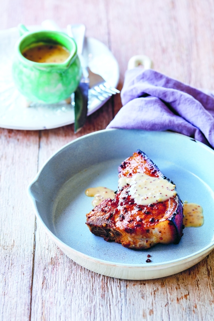 Honey mustard glazed pork chops p.54