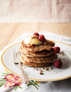 Oaty pecan pancakes