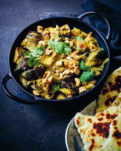 INDIAN_ Roasted eggplant curry with garlicky cashews